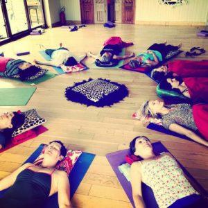 Yoga in the yoga studio on retreat